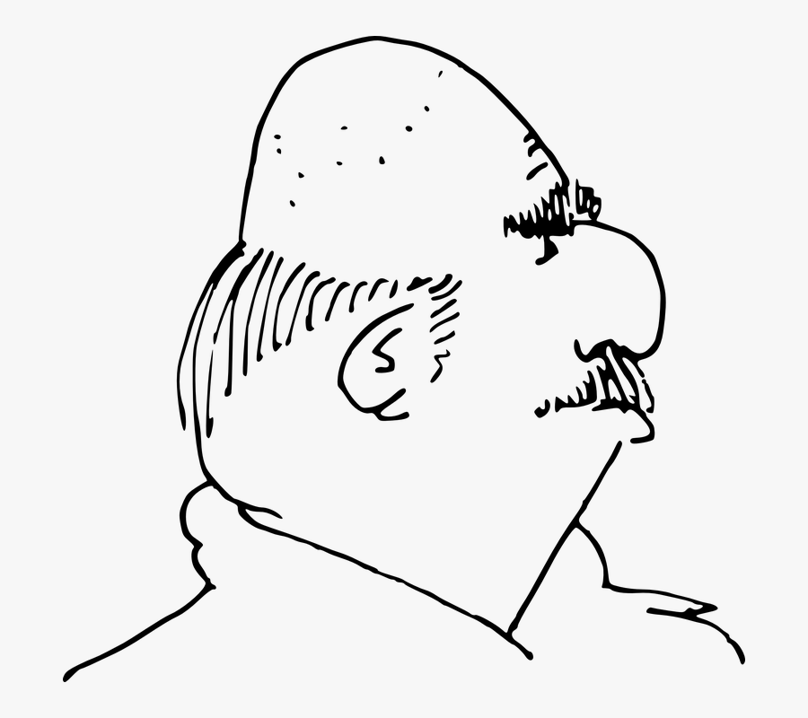 Bald Head, Bald Patch, Head, Bald, Black, Man, Mustache - Bald Head For Coloring, Transparent Clipart