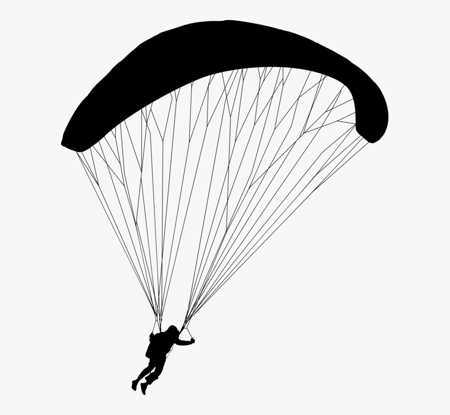 Air Sports,monochrome Photography,sky - Clipart Image Black And White Of Parachute, Transparent Clipart