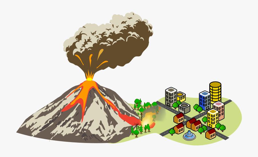 Erupting Near The City - Volcanic Eruption Clip Art, Transparent Clipart