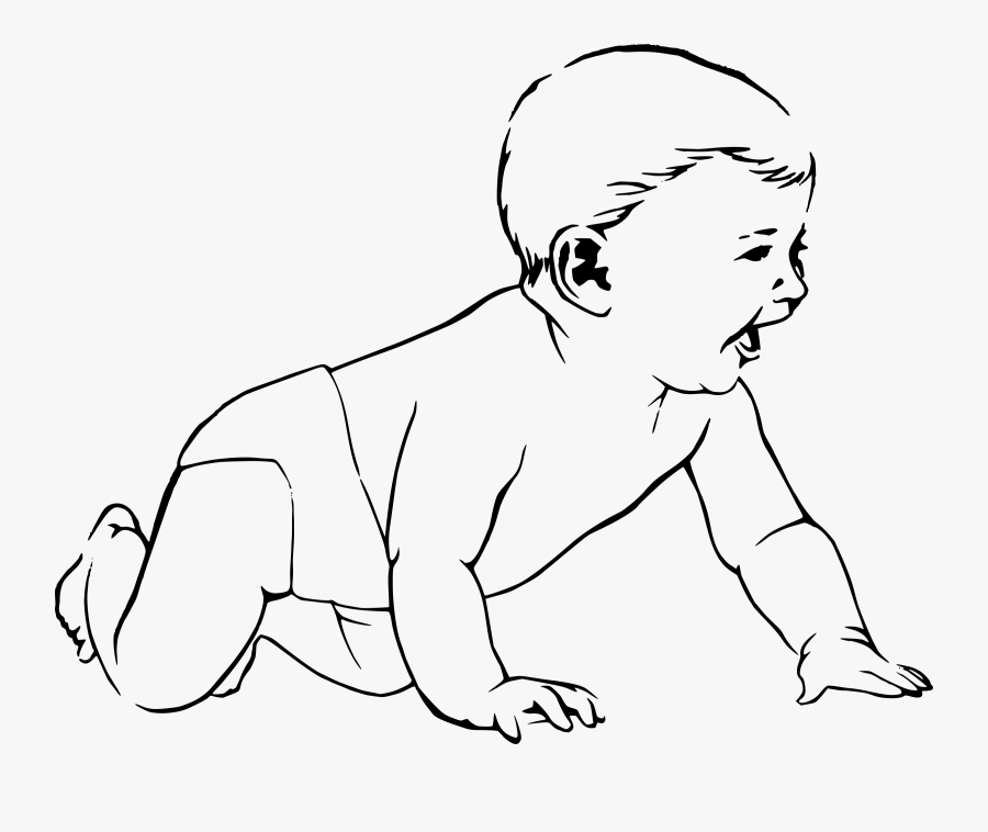Clipart Baby Black And White - Outline Picture Of Baby, Transparent Clipart