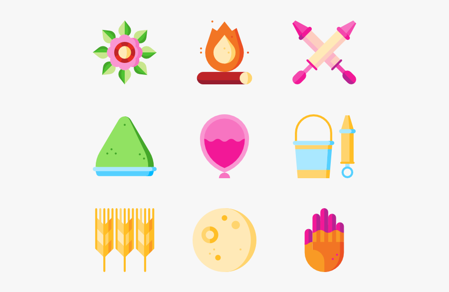 Indian Clipart Holi - Holi Icons, Transparent Clipart