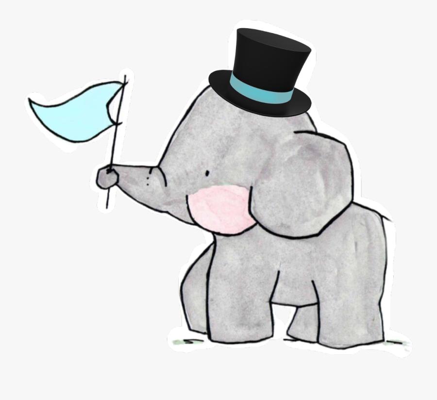 #elephant #family #tophat #wedding #groom - Cartoon Elephant Family Clipart, Transparent Clipart