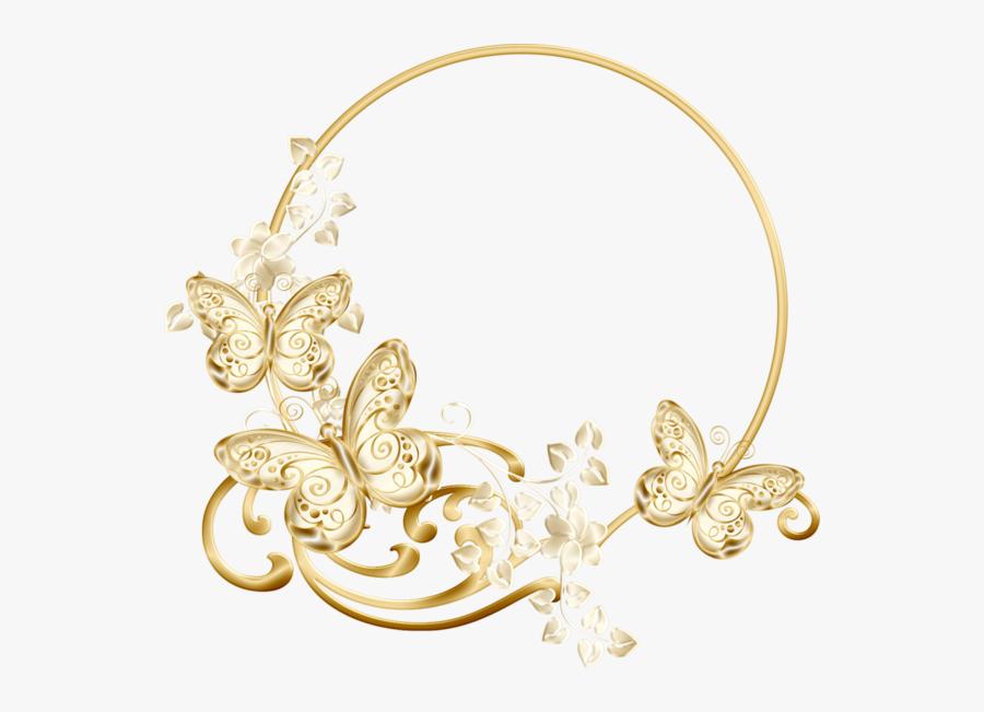 #butterflies #gold #swirls #vinesandleaves #round #wreath - Diseño De Joyas En Oro, Transparent Clipart