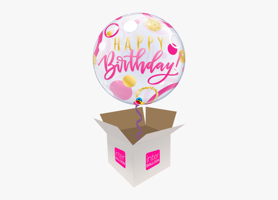22″ Pink & Gold Happy Birthday Bubble - Pink Happy Birthday Bubble Balloon, Transparent Clipart