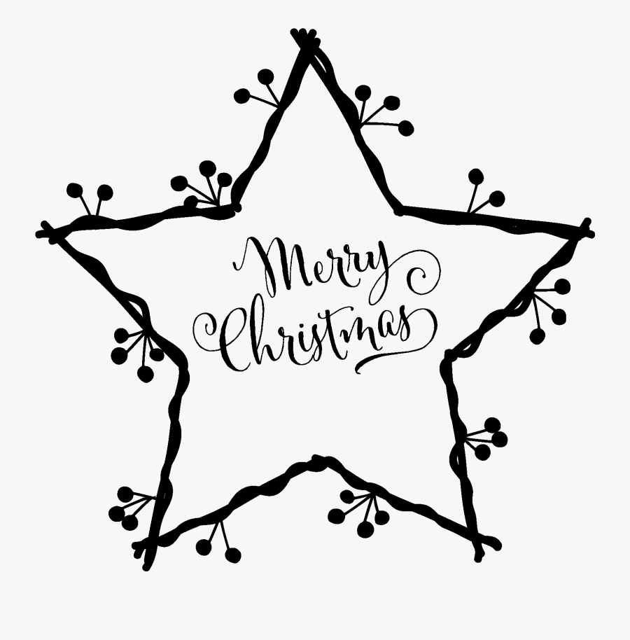 Merry Christmas In Star, Transparent Clipart