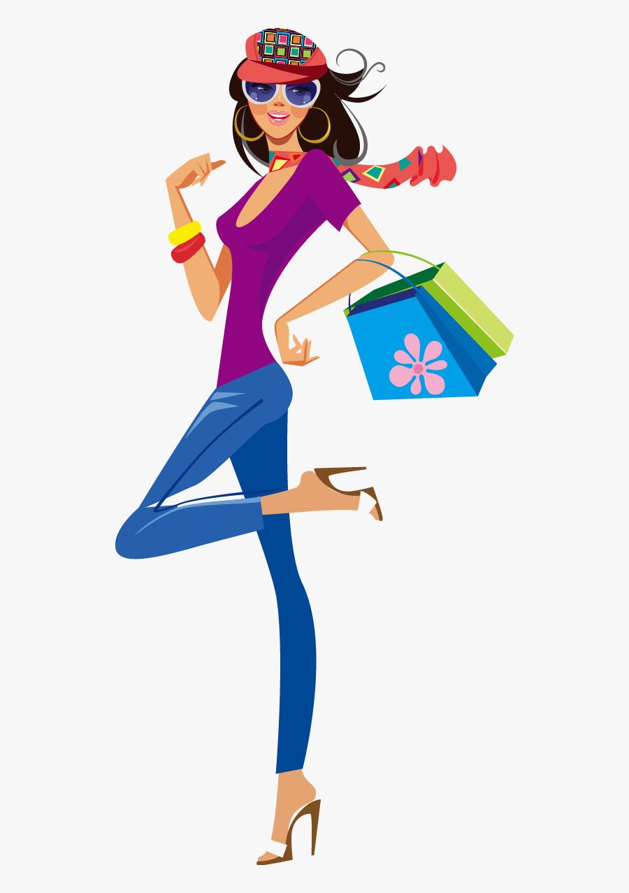 Shopping Clothing Illustration - Fashion Shopping Girl Vector Png, Transparent Clipart