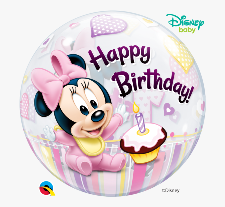 Happy 1st Birthday Girl Minnie Mouse, Transparent Clipart