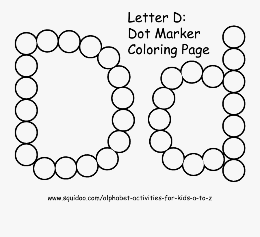 Letter D Dot Marker Coloring Page 1 Preschool Literacy - Coloring Book, Transparent Clipart
