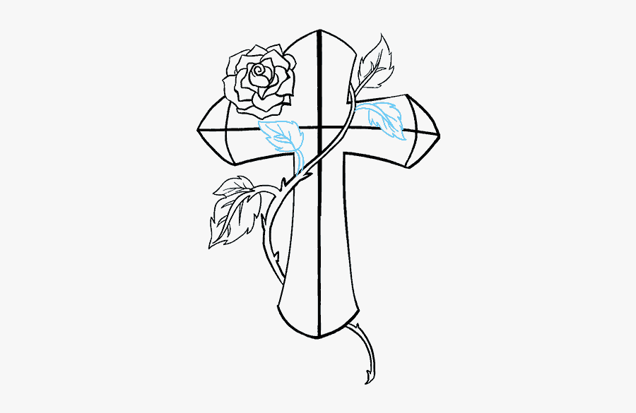 How To Draw Cross With A Rose Easy Crosses With Roses Drawings Free Transparent Clipart Clipartkey