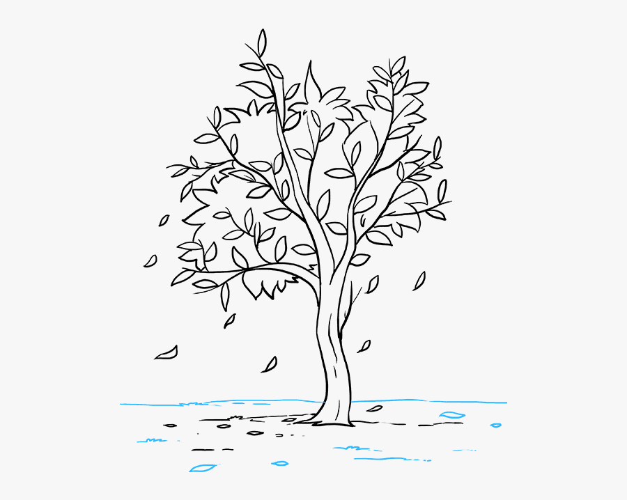 How To Draw Fall Tree - Fall Tree Drawing Small, Transparent Clipart