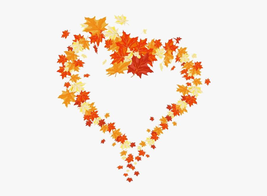 Autumn Leaves Heart, Transparent Clipart