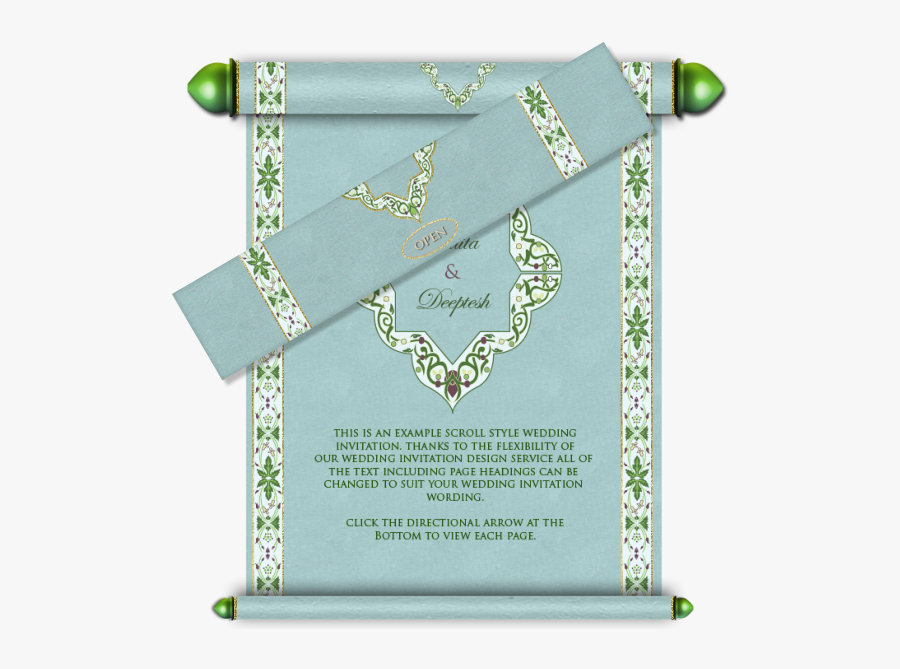Clip Art Royal Scroll Email Card - Wedding Invitation Card Design In Muslim, Transparent Clipart