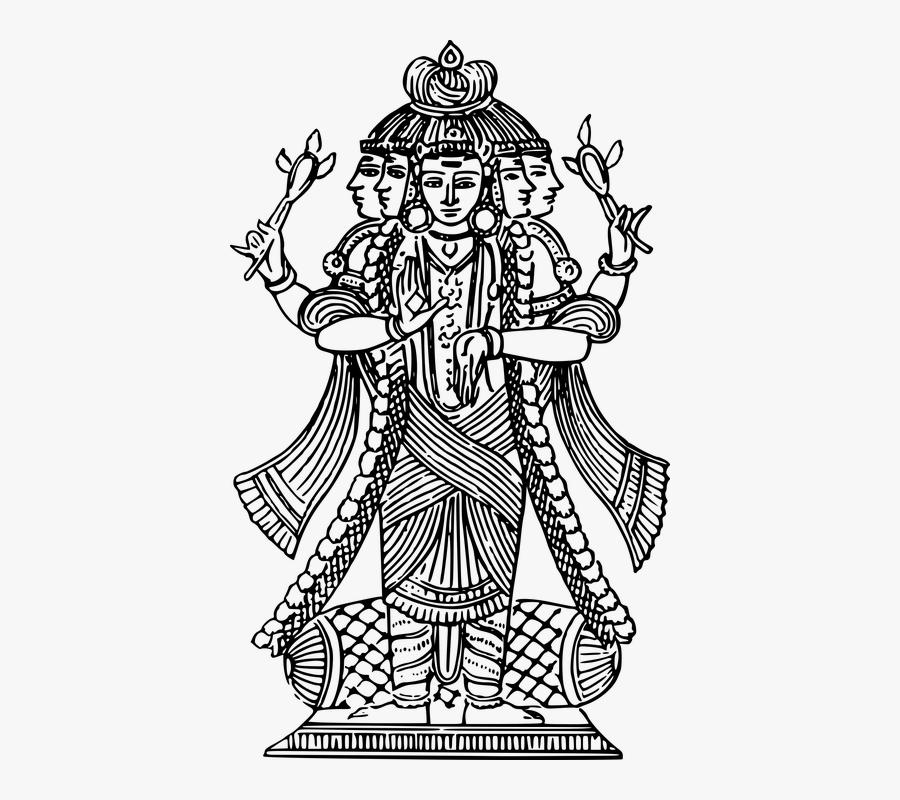 Hindu Goddess Parvati Black And White, Transparent Clipart