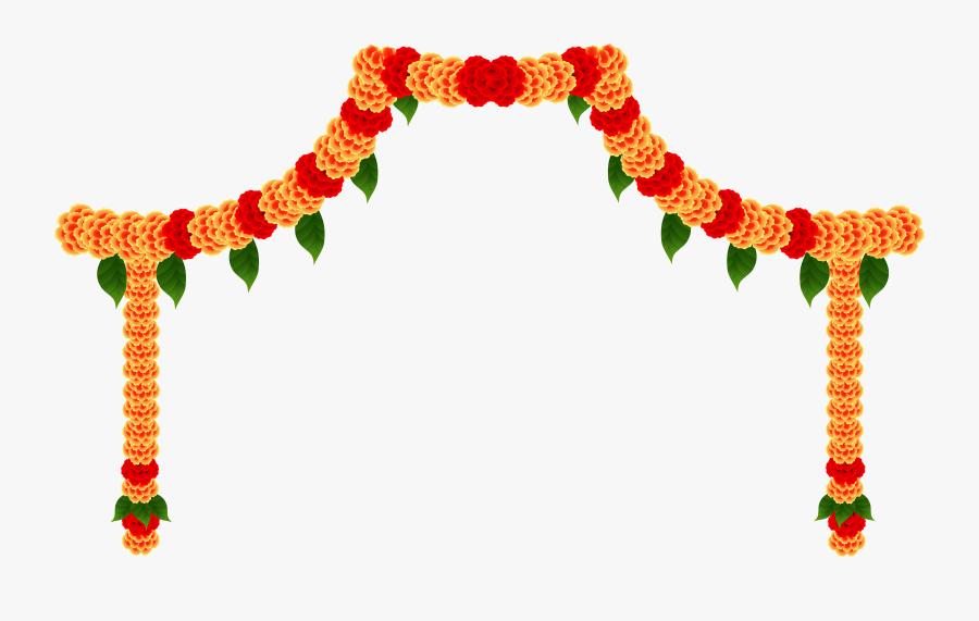 Transparent Flower Garland Png - Invitation Card Durga Puja, Transparent Clipart
