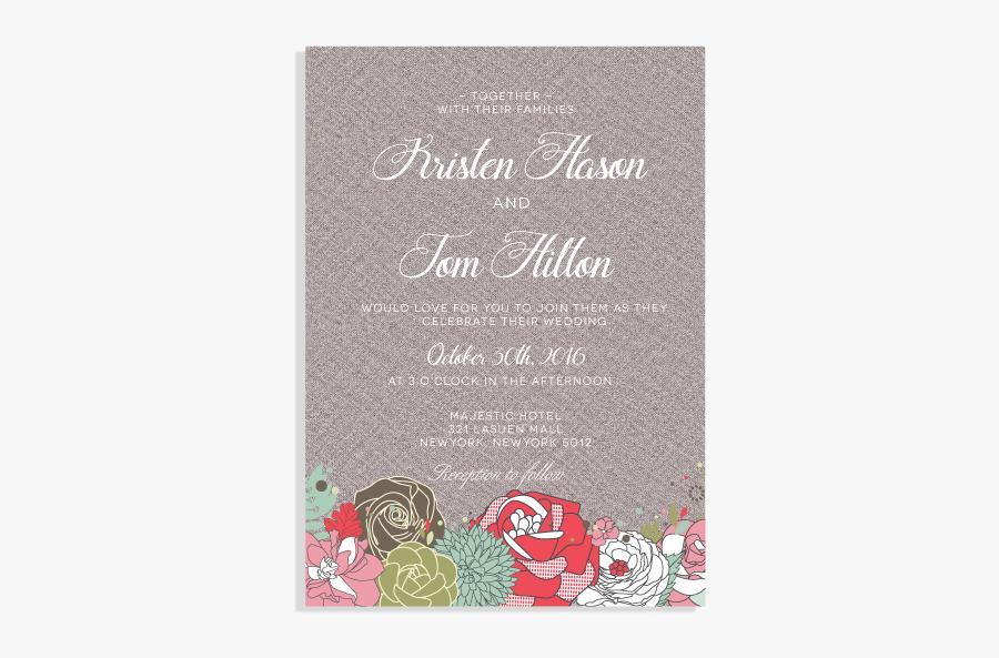 Clip Art Vintage Floral Invitation Set - Christmas Card, Transparent Clipart