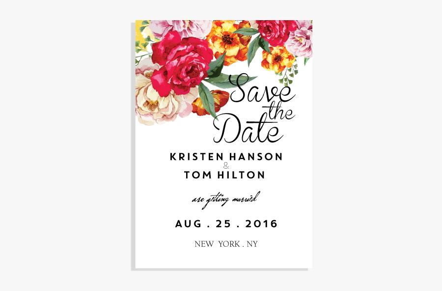 Clip Art Hand Painted Wedding Invitations - Hybrid Tea Rose, Transparent Clipart