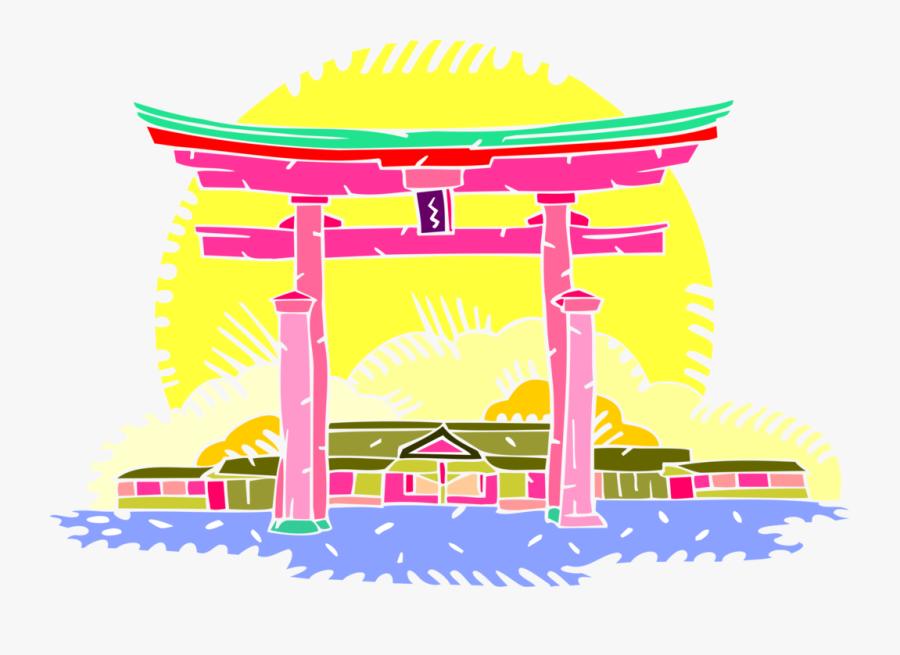 Shinto Torii Gate Vector - Japanese Gate Png Transparent, Transparent Clipart