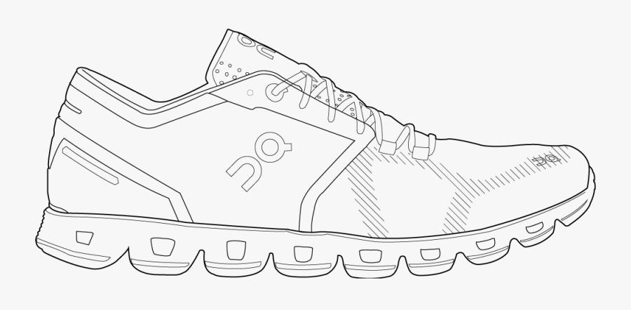 Cloud X Womens - Mens Sports Shoe Sketch, Transparent Clipart