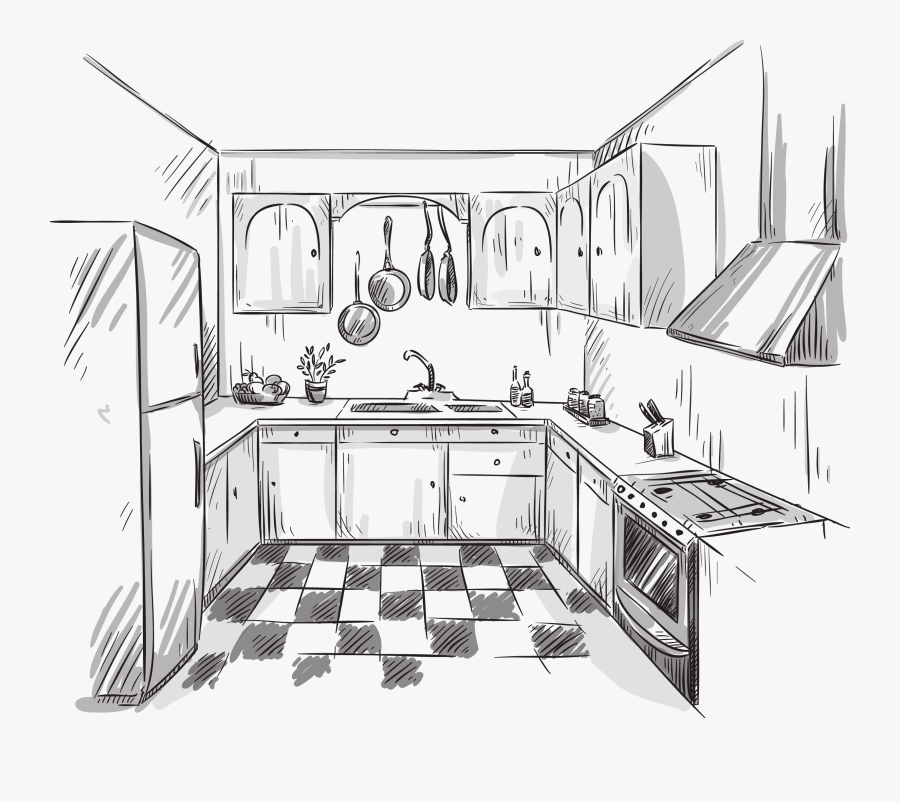 Clip Art Collection Of Free Drawing - Kitchen Sketch, Transparent Clipart