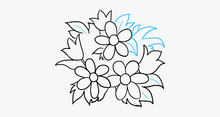 How To Draw Flower Bouquet - Flower Bouquet Drawings For Beginners, Transparent Clipart