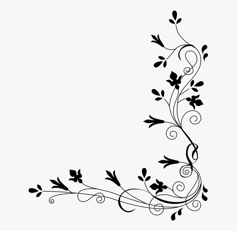 Flower Border Png Black And White, Transparent Clipart