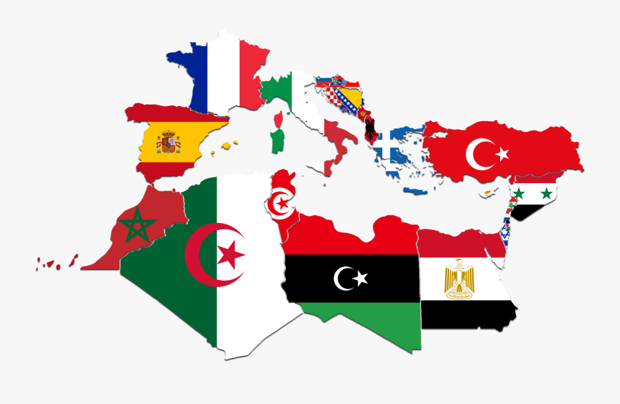 Countries - Mediterranean Flag Map, Transparent Clipart