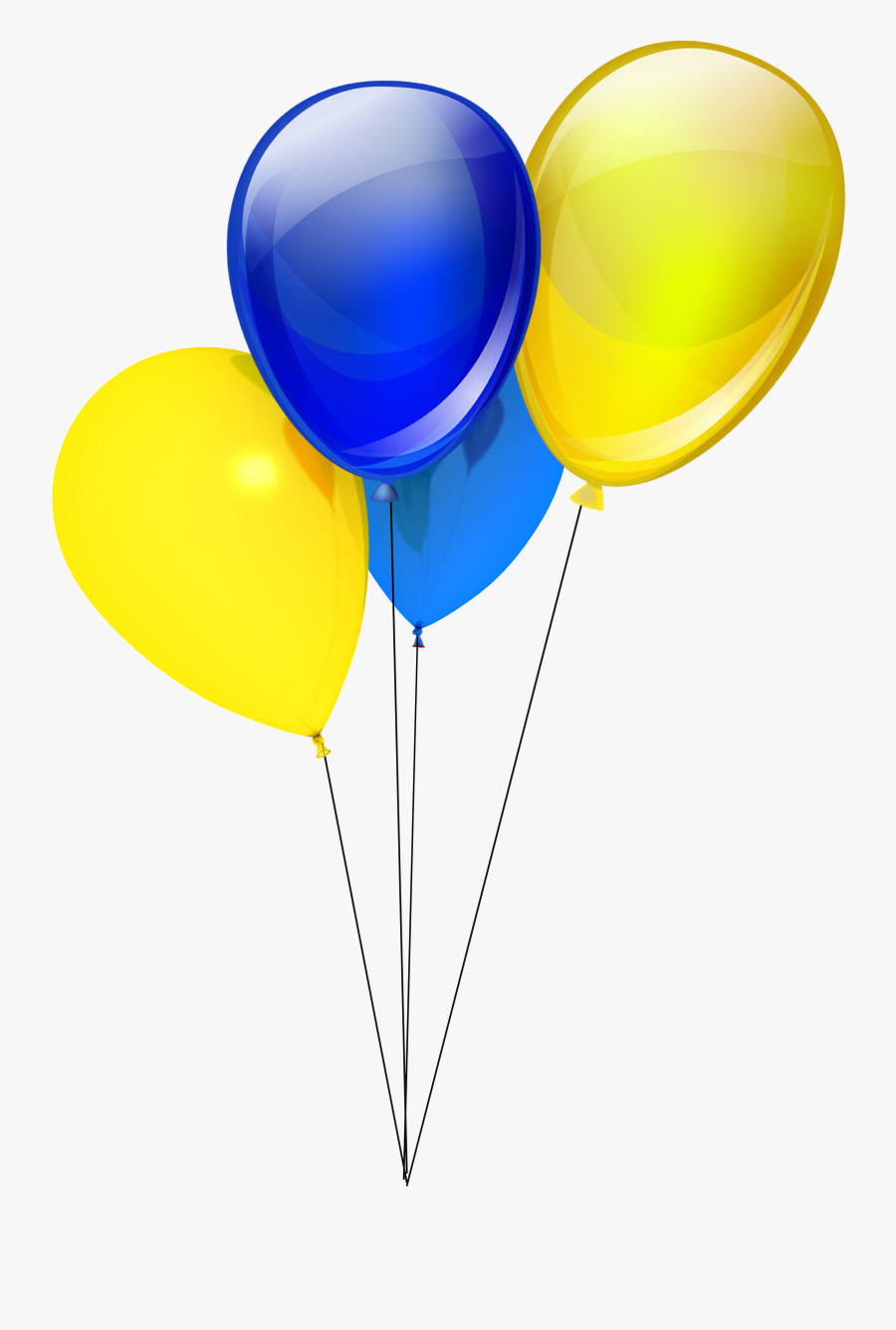 Balloons Png Golden - Yellow And Blue Balloon, Transparent Clipart