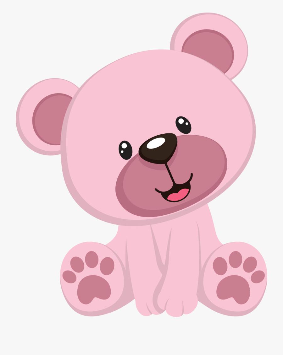 Pink Teddy Bear Baby Shower Clip Art - Urso Rosa Desenho, Transparent Clipart