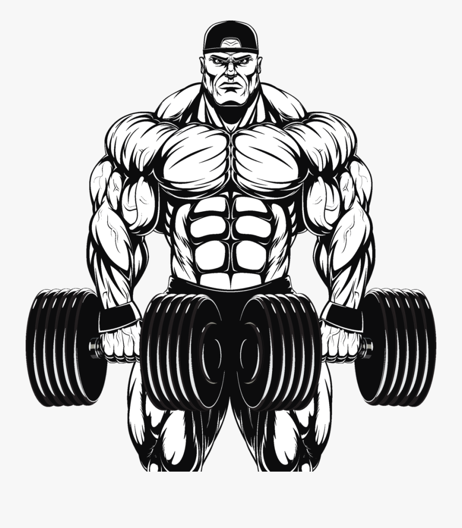 Clip Art Collection Of Free Muscles - Bodybuilder With Dumbbell Vector, Transparent Clipart