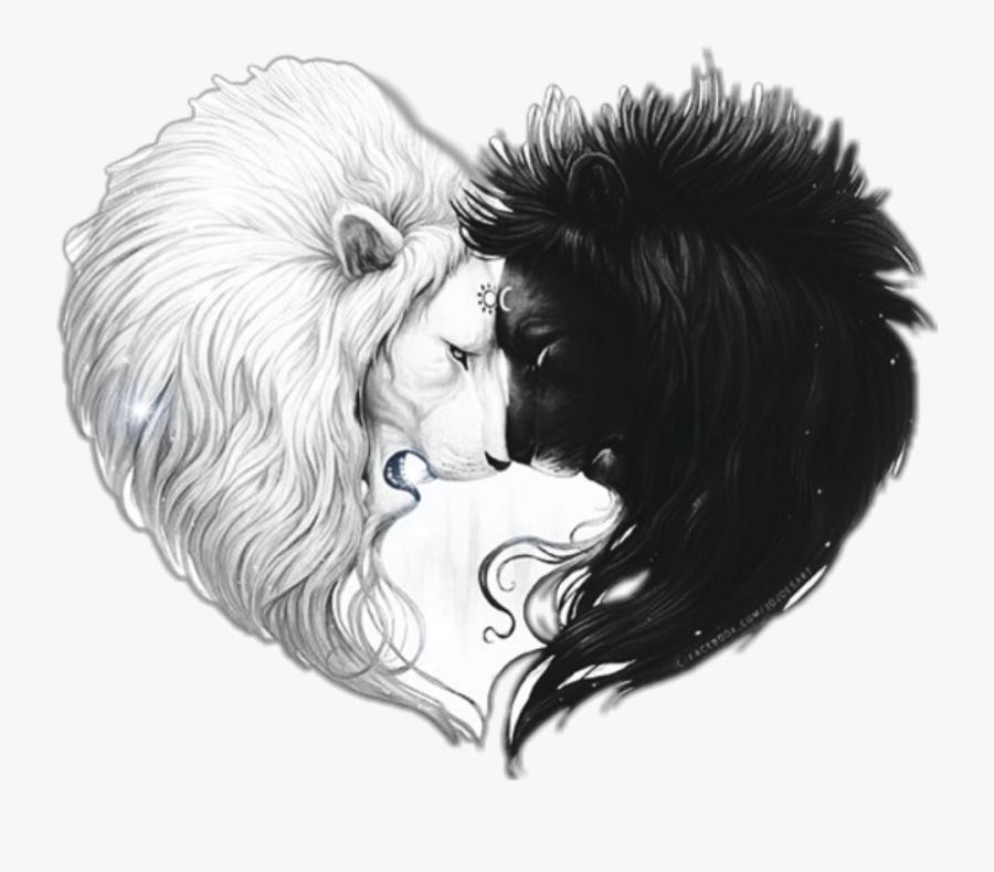 #lionheart #lion #heart #lionlovers #sun #moon #black - Drawing Pic Lion And Girl, Transparent Clipart