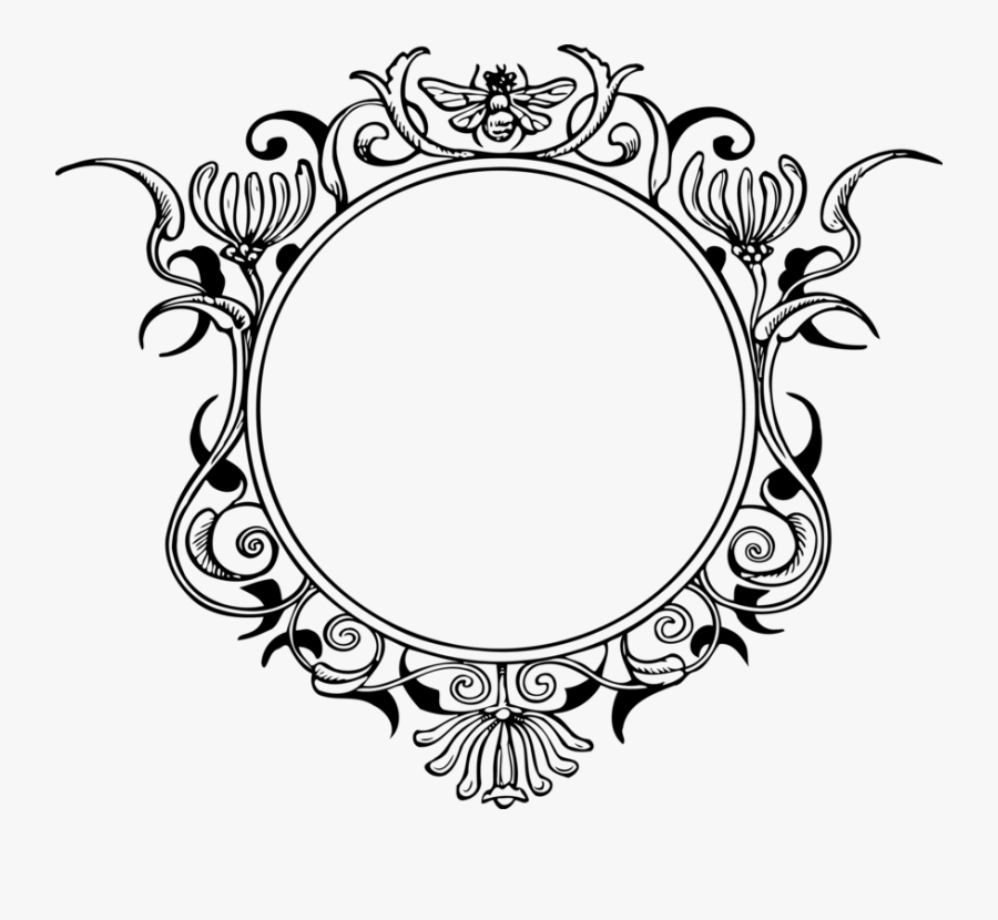 Picture Frame,line Art,decor - Round Vintage Frame Png, Transparent Clipart
