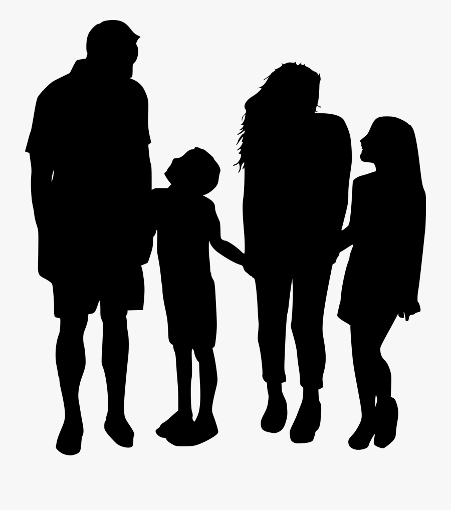 Family Of 4 Silhouette, Transparent Clipart