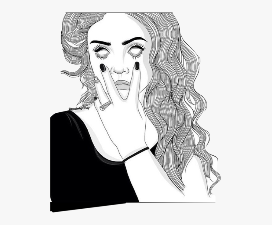 Illistration Drawling Eyeroll Outline Sick To Death - Outline Girl Drawing, Transparent Clipart