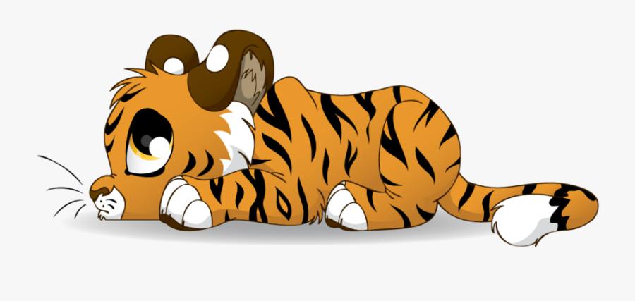 Sad Tiger Cub Cartoon, Transparent Clipart