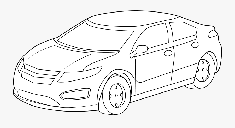 Car Clipart Drawing - Sports Car Clipart Black And White Png, Transparent Clipart