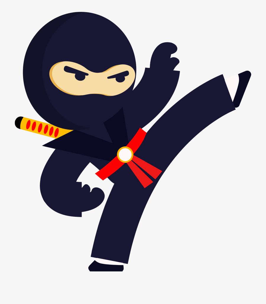 Kicking Ninja Clipart , Png Download - Ninja Clipart, Transparent Clipart