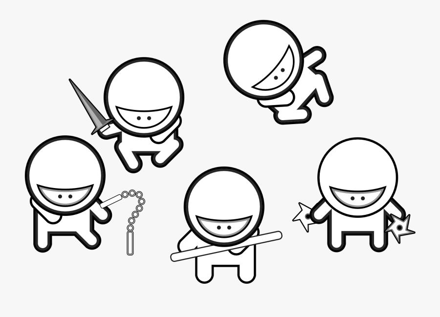 Net � Clip Art � Studiofibonacci Cartoon Ninjas Black - Cute Ninja Coloring Pages, Transparent Clipart