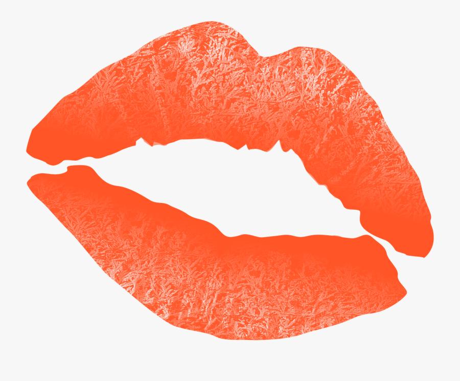 Kiss Png Clipart Transparent Background - Orange Lipstick Kiss Png, Transparent Clipart