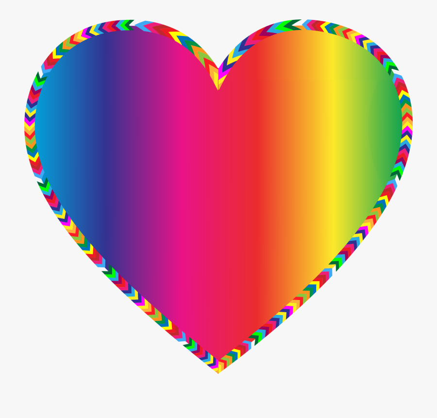 Multicolored Arrows Heart Filled - Clipart Rainbow Heart, Transparent Clipart