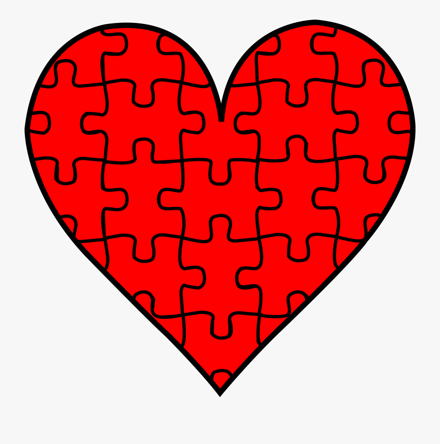 Thumb Image - Red Autism Puzzle Heart, Transparent Clipart