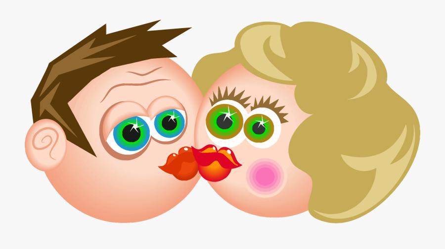 Kiss Clipart Png - Couple Kissing Cartoon Png, Transparent Clipart