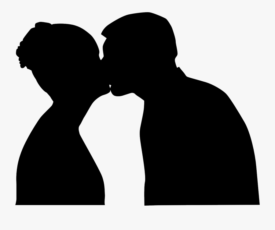 Silhouetted Kiss - People Kissing Clipart, Transparent Clipart
