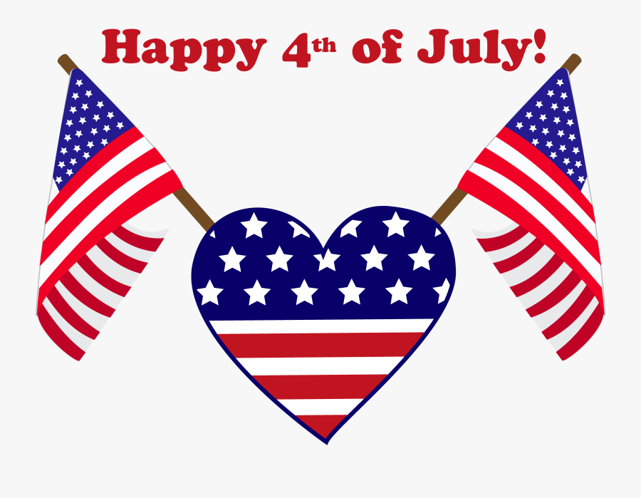 Happy Fourth Of July Heart Flag, Transparent Clipart