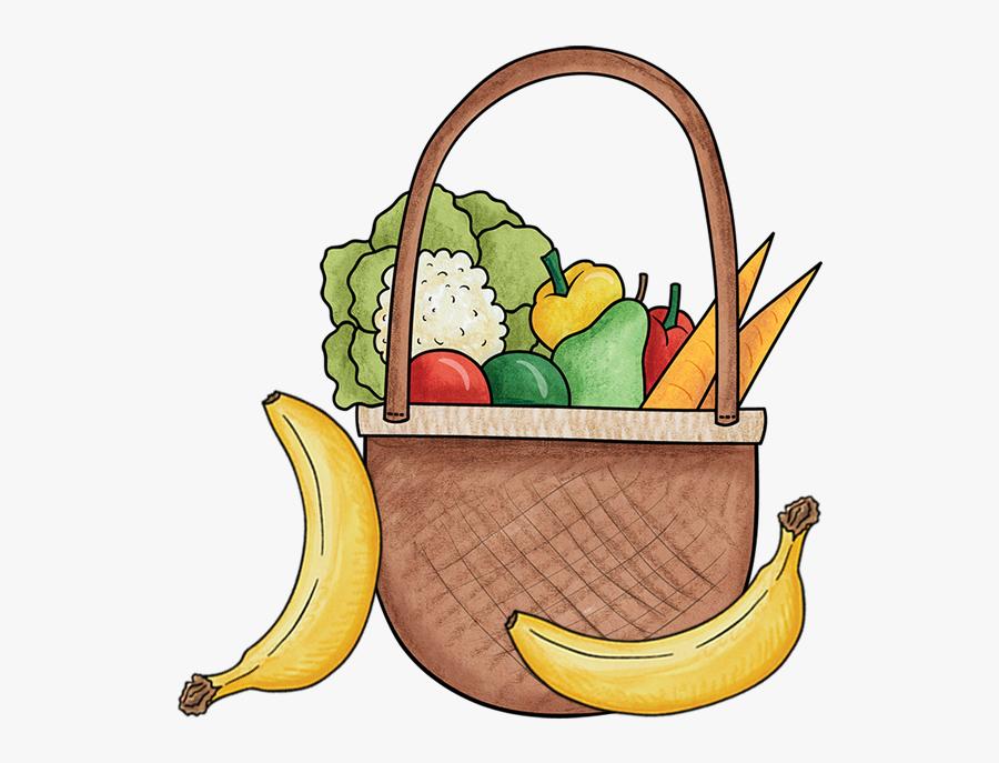 Basket Of Fruit And Vegetables - Basket Fruits Vegetables Clip Art, Transparent Clipart