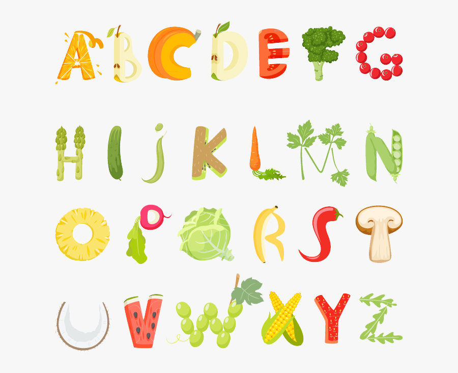 Vegetarian Cuisine Food Letter Alphabet - Letters Made Of Food Cartoon, Transparent Clipart