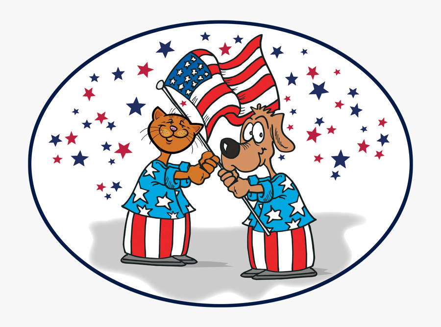 Cat And Dog Clip Art - 4th Of July Cat Dog, Transparent Clipart