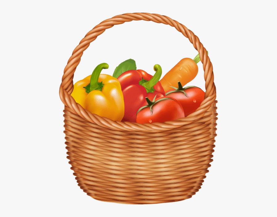 Basket Full Of Vegetables, Transparent Clipart