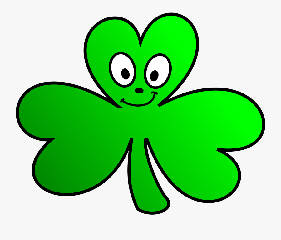 Green Shamrock Cartoon Face - Irish Shamrock Clip Art, Transparent Clipart