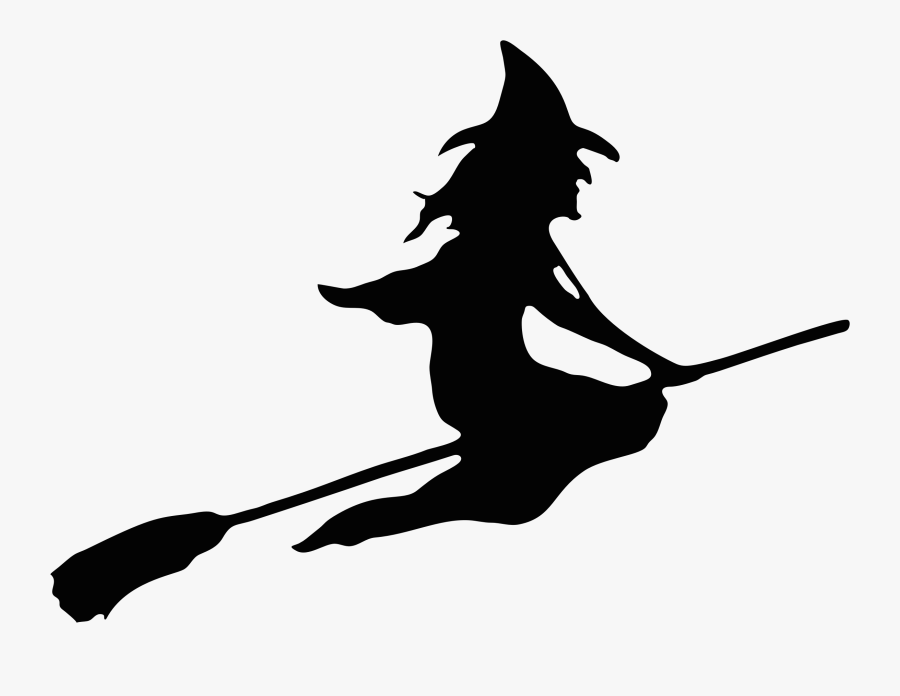 Witch Clipart Broom - Halloween Witch On A Broom, Transparent Clipart