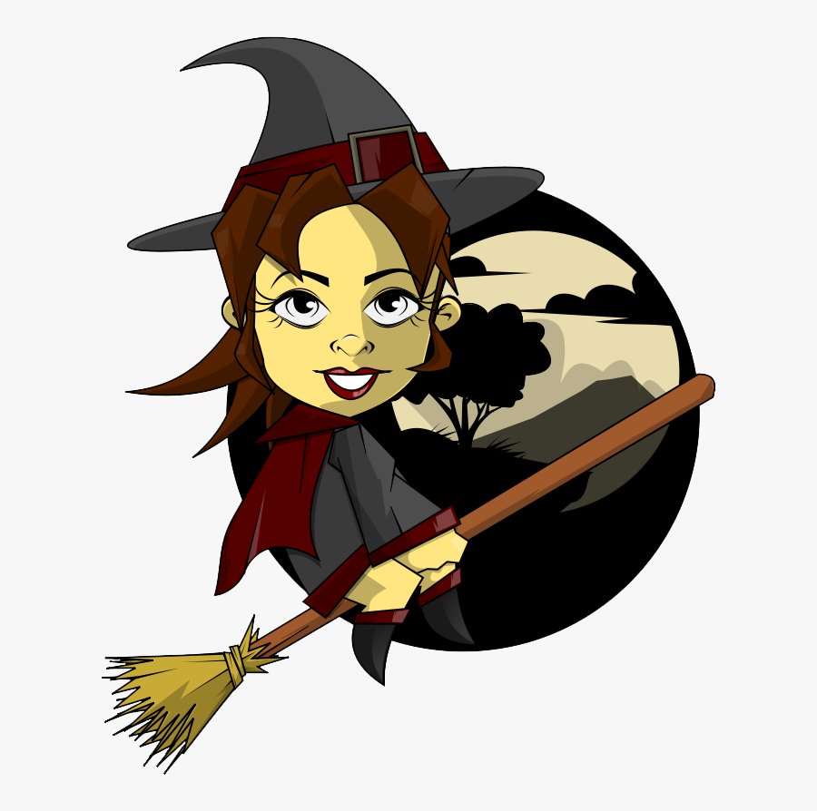 Witchcraft - Clipart - Male Witches Riding Brooms, Transparent Clipart
